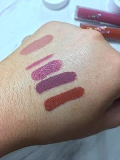 Colourpop lip swatches- Strip, Viper liner, Sauce, Viper, Mama