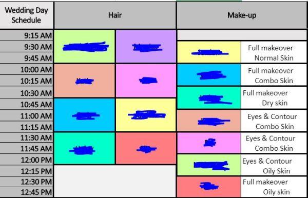 bridemaid makeup schedule